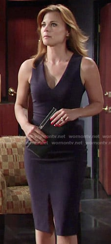 Phyllis's navy v-neck dress on The Young and the Restless