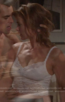 Phyllis's white lace cami on The Young and the Restless