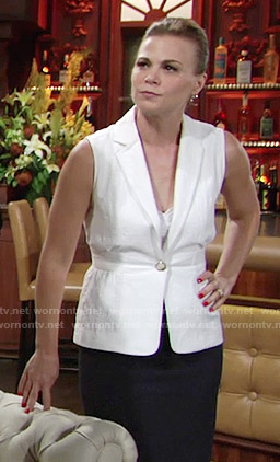 Phyllis's white textured vest on The Young and the Restless
