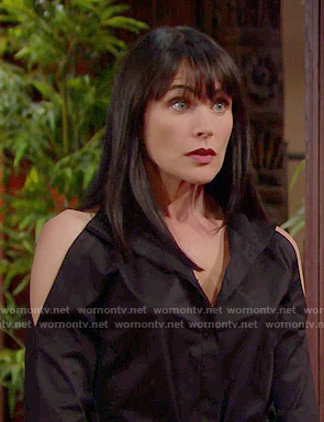 Quinn's black cold shoulder shirtdress on The Bold and the Beautiful