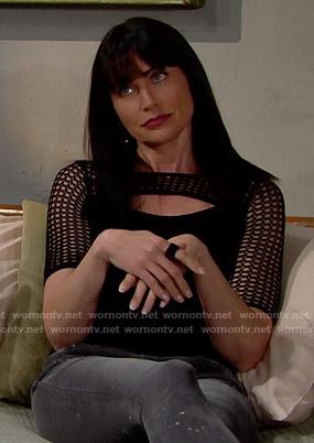 Quinn's black mesh sleeve top on The Bold and the Beautiful