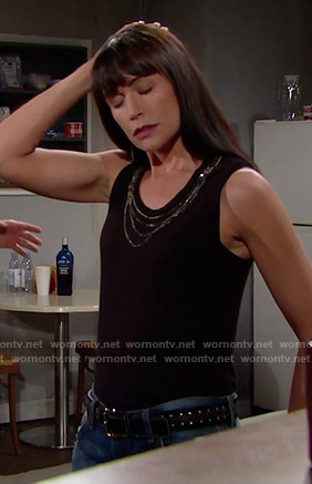 Quinn's black chain neck tank top on The Bold and the Beautiful