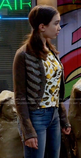Riley's lemon print top and embroidered jacket on Girl Meets World