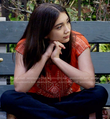 Riley's orange embroidered crop top on Girl Meets World