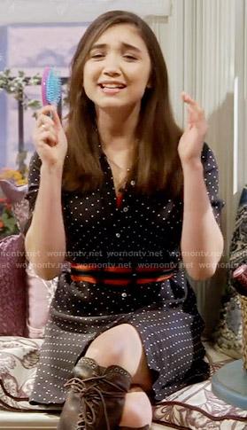 Riley's black polka dot shirtdress on Girl Meets World