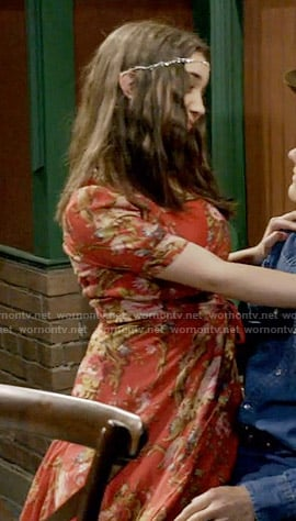 Riley's red floral wrap maxi dress on Girl Meets World