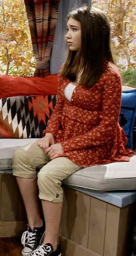 Riley's red floral button front top and cargo pants on Girl Meets World