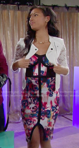 Sasha's printed bustier dress and white lace jacket on The Bold and the Beautiful