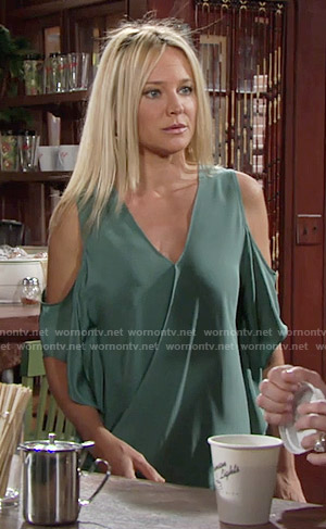 Sharon's green cold shoulder blouse on The Young and the Restless