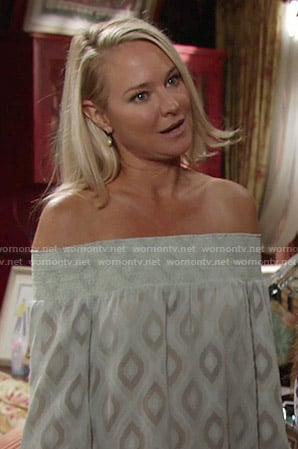 Sharon's green diamond print off-shoulder top on The Young and the Restless