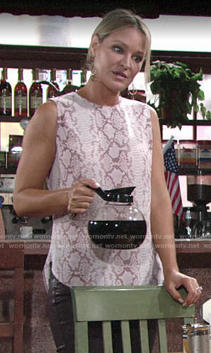Sharon's pink snake print top on The Young and the Restless
