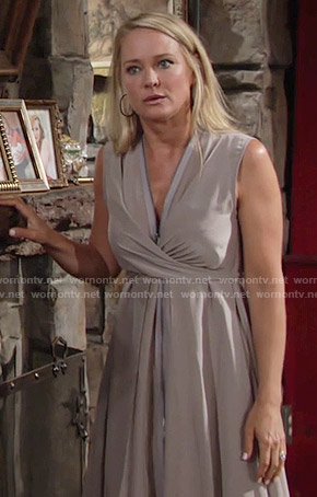 Sharon's taupe zip front dress on The Young and the Restless