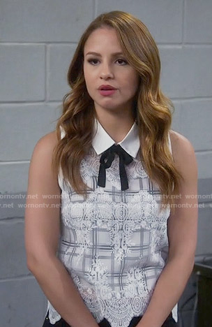 Sofia's white plaid lace overlay top on Young and Hungry