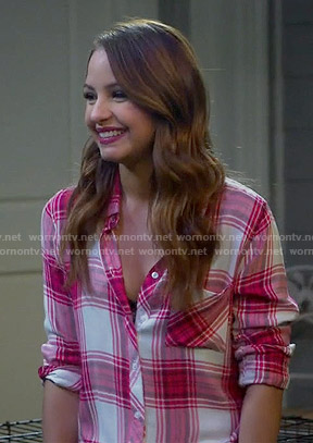 Sofia's yellow ruffled top and button front skirt on Young and Hungry