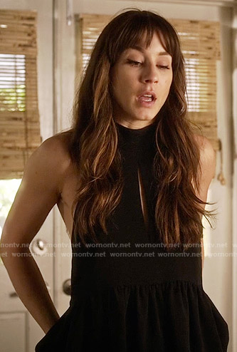 Spencer's black front keyhole peplum halter top on Pretty Little Liars