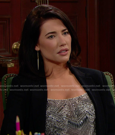 Steffy's beaded top and spike earrings on The Bold and the Beautiful