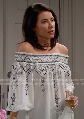 Steffy's white embroidered off-shoulder top on The Bold and the Beautiful