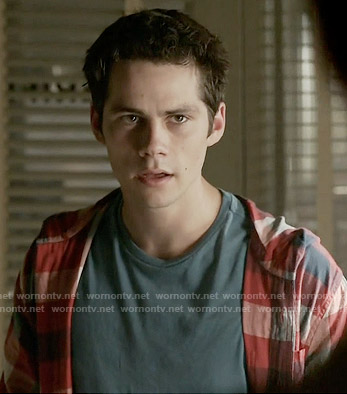 Stiles's red checked hooded shirt on Teen Wolf