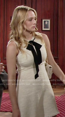 Summer's beige dress with frayed edges and black tie on The Young and the Restless