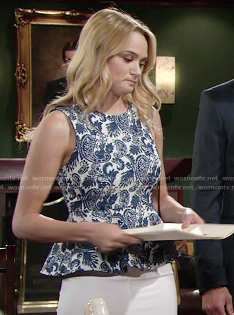 Summer's blue paisley print peplum top on The Young and the Restless