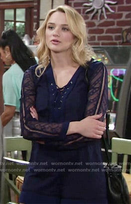 Summer's navy lace-up romper on The Young and the Restless