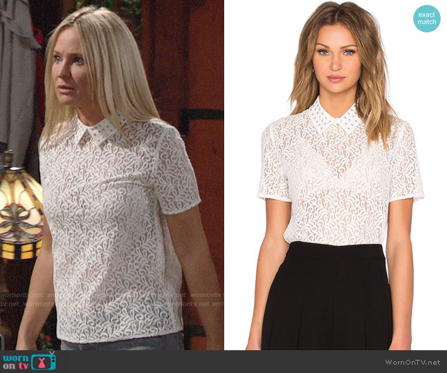 The Kooples Lace Short Sleeve Polo Top worn by Sharon Collins (Sharon Case) on The Young & the Restless
