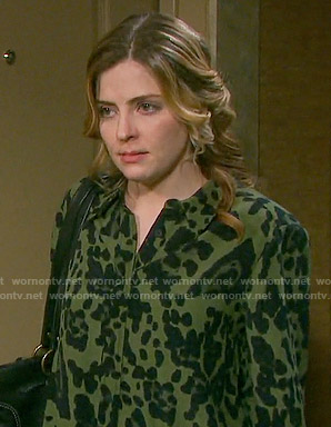 Theresa's green leopard print shirt on Days of our Lives