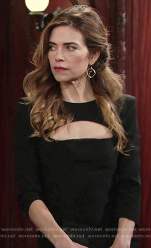 Victoria's black dress with cutout bust on The Young and the Restless