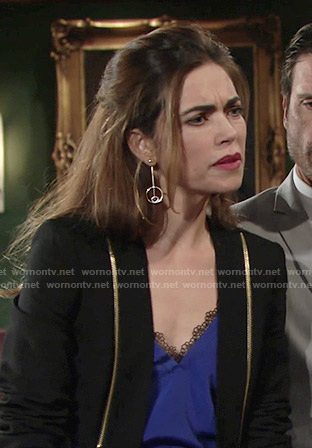 Victoria's blue top with lace trim and zip detail blazer on The Young and the Restless