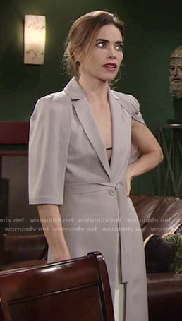 Victoria's grey caped coat on The Young and the Restless