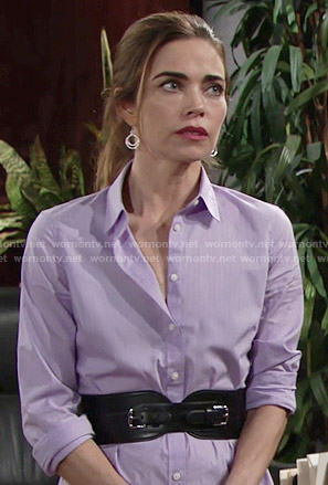 Victoria's purple pinstriped shirt and double buckle belt on The Young and the Restless