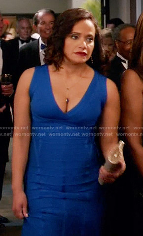 Zoila's blue bandage gown on Devious Maids