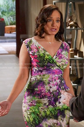 Zoila's floral surplice neck dress on Devious Maids