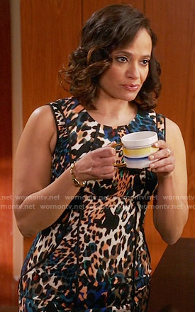Zoila's multi colored leopard print dress on Devious Maids