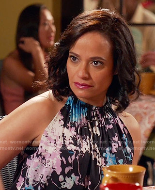 Zoila's blue and pink floral top on Devious Maids
