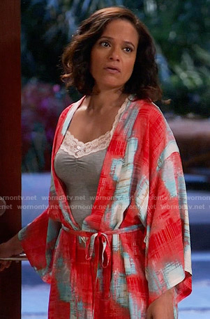 Zoila's red and blue printed robe on Devious Maids