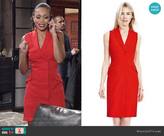Banana Republic Sleeveless Tux Dress worn by Hilary Curtis (Mishael Morgan) on The Young & the Restless