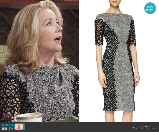 Lela Rose Lace-Detailed Speckled Dress worn by Nikki Reed Newman (Melody Thomas-Scott) on The Young & the Restless