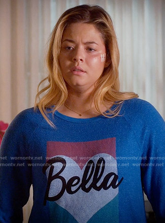 Ali's blue Bella sweatshirt on Pretty Little Liars