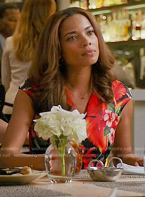Kate's blue and red printed top with metal ring on Mistresses