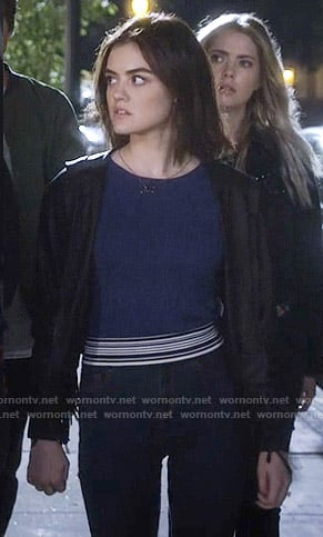 Aria's blue sweater with striped trim on Pretty Little Liars