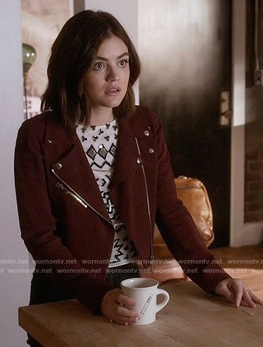 Aria's embellished top and red moto jacket on Pretty Little Liars