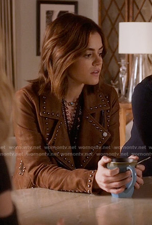 Aria's studded leather jacket and floral top on Pretty Little Liars