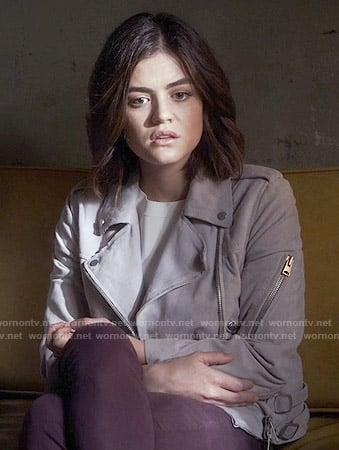 Aria's grey moto jacket on Pretty Little Liars