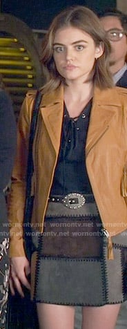 Aria's tan leather jacket and suede patchwork skirt on Pretty Little Liars
