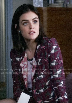 Aria's purple geometric patterned jacket on Pretty Little Liars