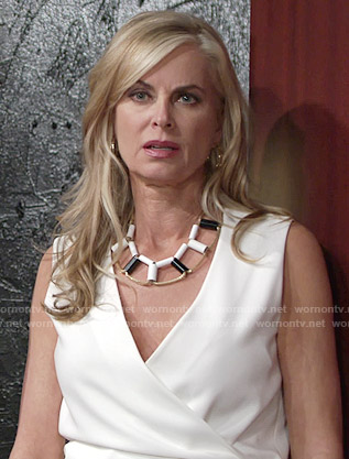 Ashley's black and white necklace on The Young and the Restless
