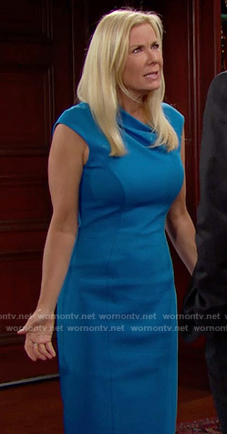 Brooke's blue draped neck sheath dress on The Bold and the Beautiful