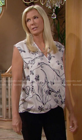Brooke's white floral sleeveless blouse on The Bold and the Beautiful