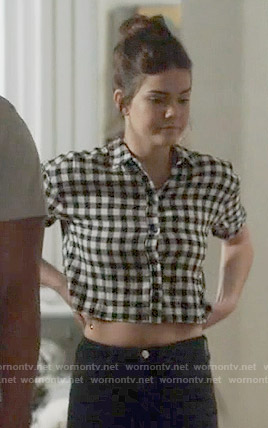 Callie's gingham checked cropped shirt on The Fosters